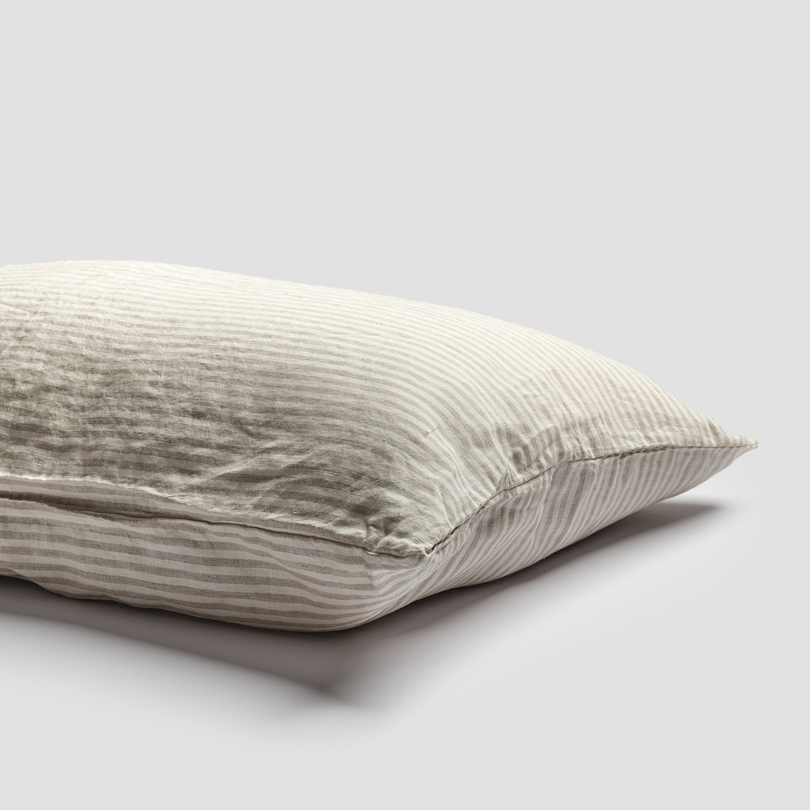 Piglet Oatmeal Stripe Linen Pillowcases (Pair) Size Standard | 100% Natural Stonewashed French flax