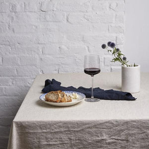 Oatmeal Linen Tablecloth - Piglet in Bed