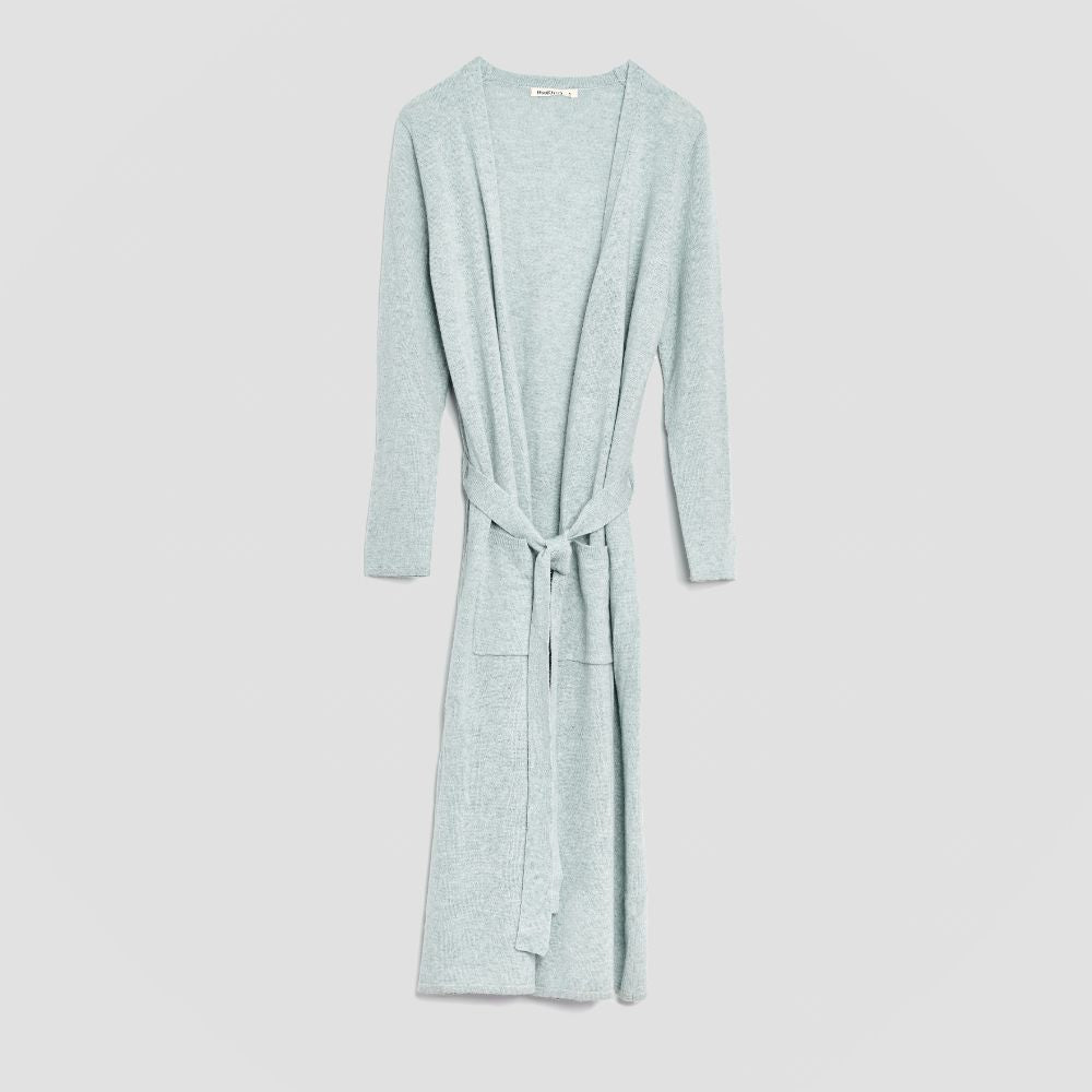 Piglet x WoolOvers Cashmere Merino Dressing Gown Sage Marl