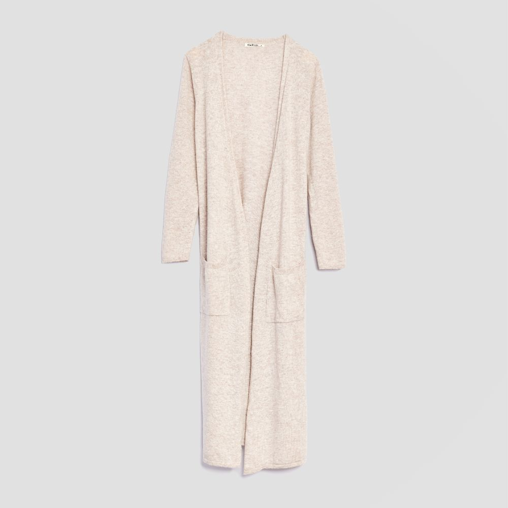 Piglet x WoolOvers Cashmere Merino Dressing Gown Natural Marl