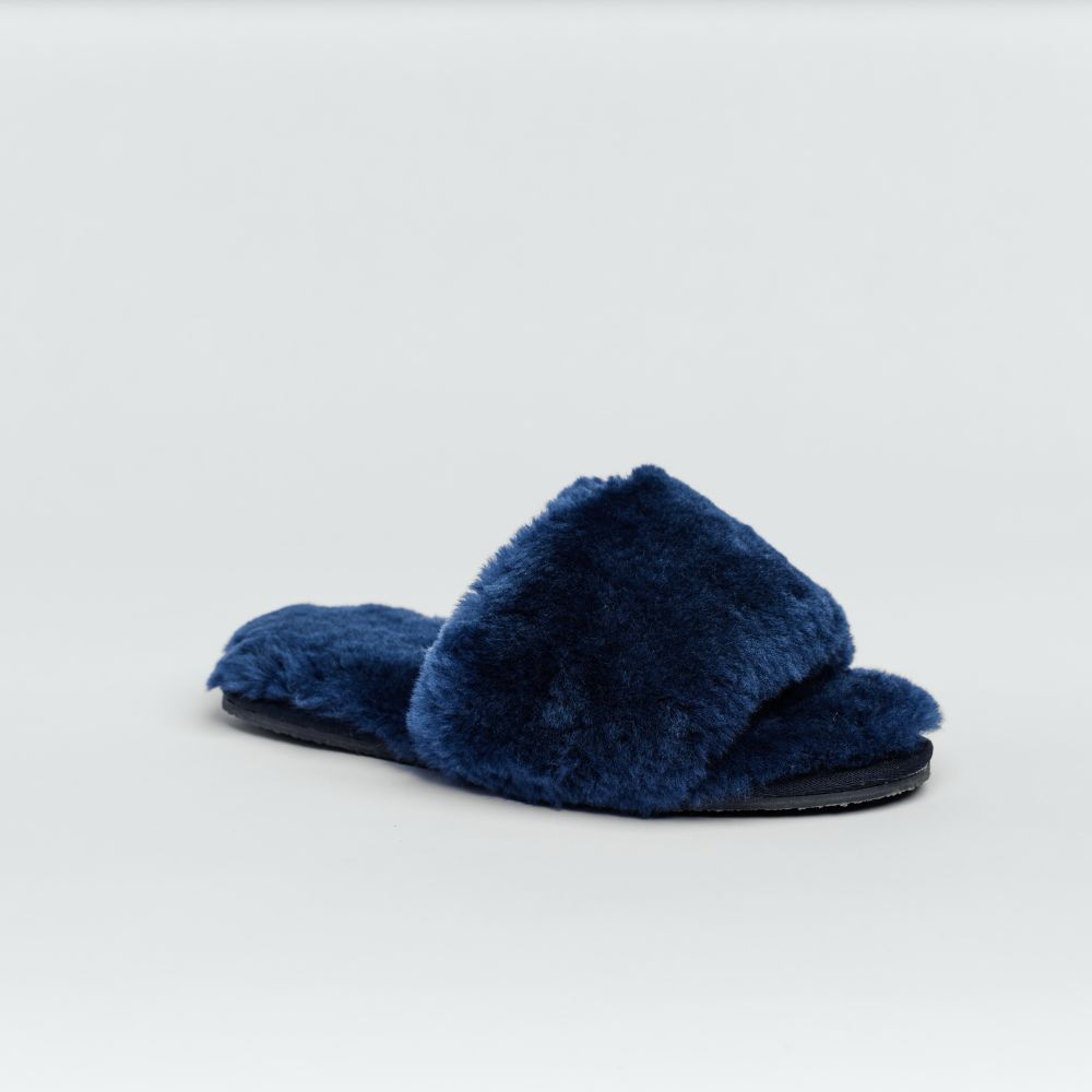 Piglet x WoolOvers Mid Blue Womens Open Toe Sheepskin Mule