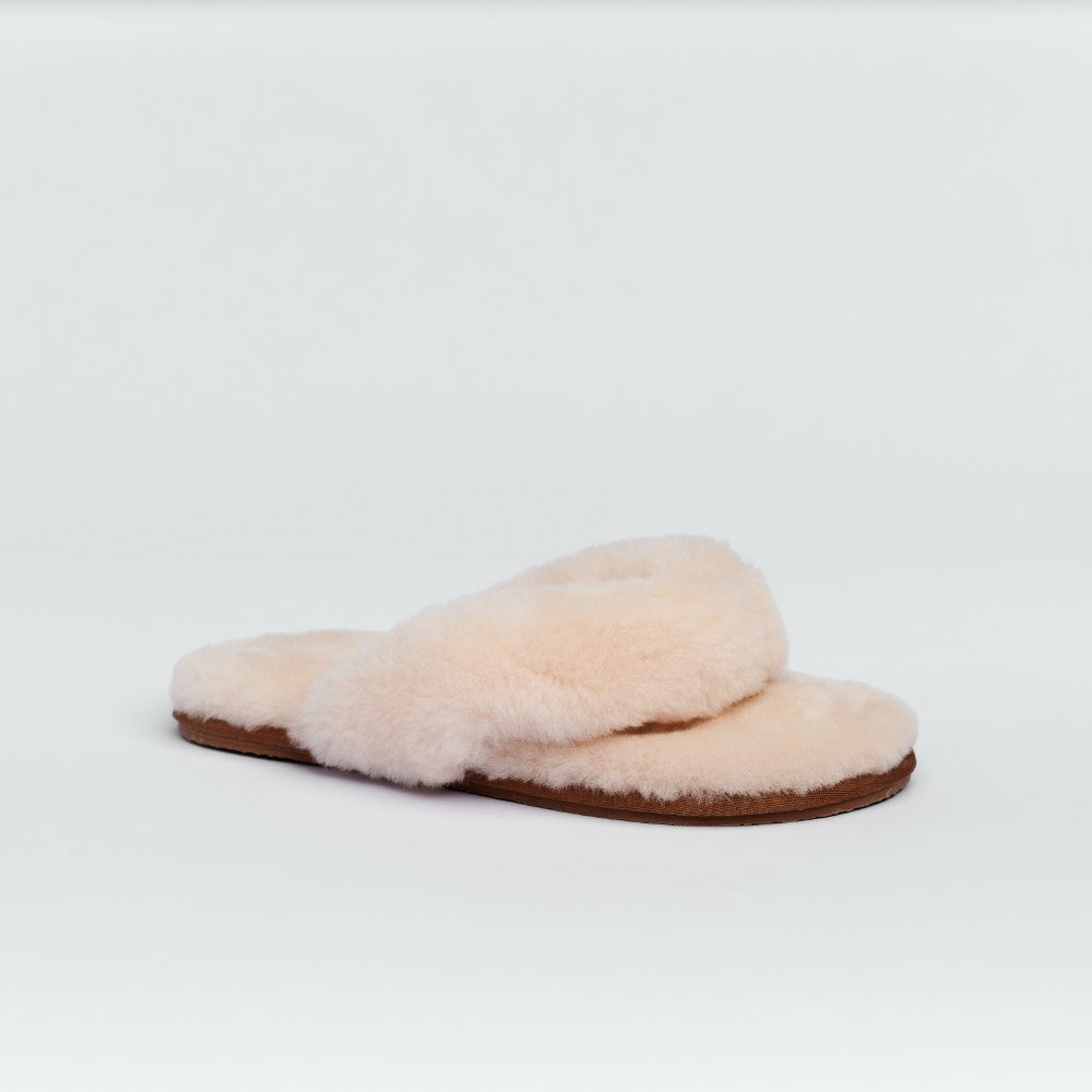 Piglet x WoolOvers Apricot Sheepskin Toe Post Slipper