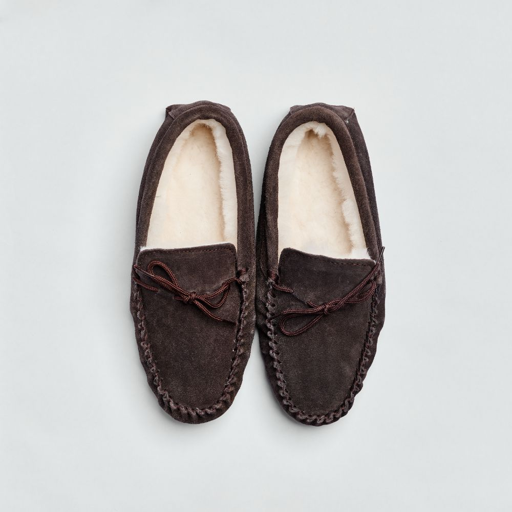 Brown Mens Sheepskin Moccasin Slipper