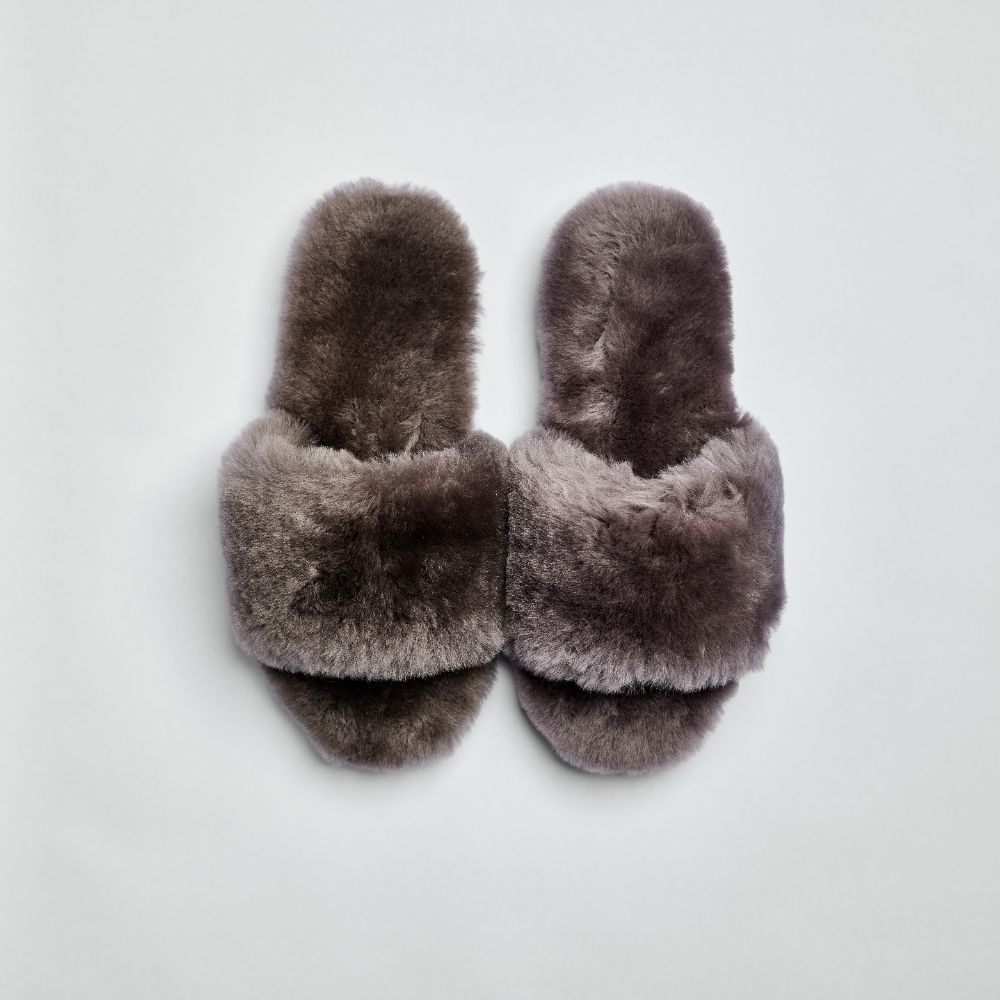 Piglet x WoolOvers Grey Womens Open Toe Sheepskin Mule