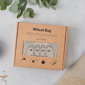 Wheat Bag with Navy Face in Linen - Piglet in Bed