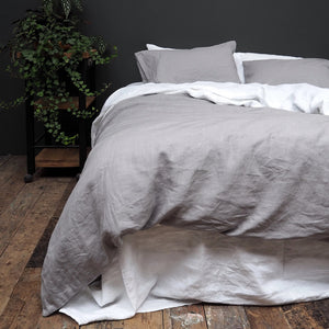 Dove Grey Linen Pillowcases - Piglet in Bed