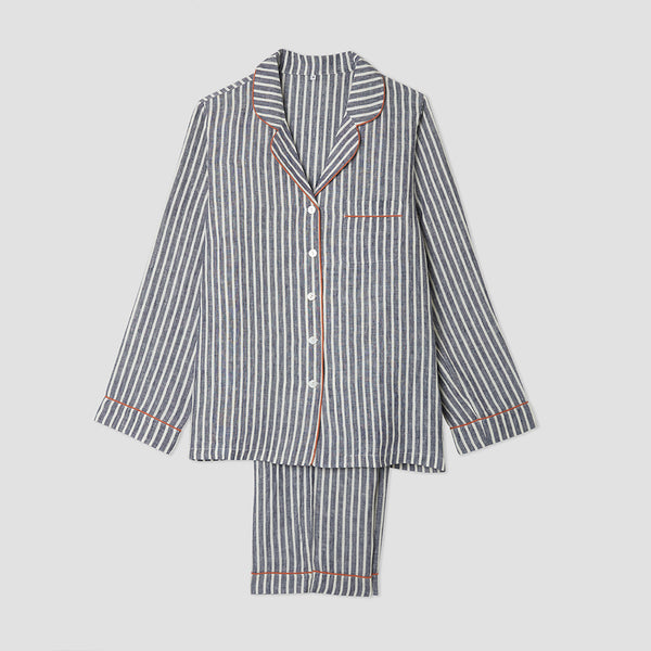 Midnight Stripe Linen Pyjama Trousers Set