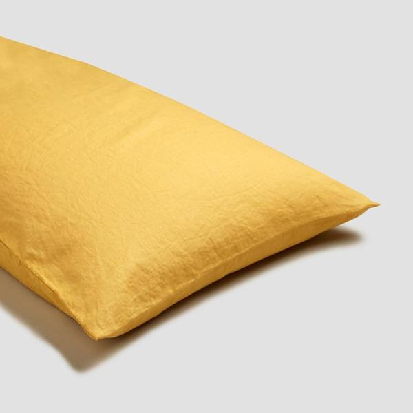 Yellow Linen Square Pillowcases (Pair)