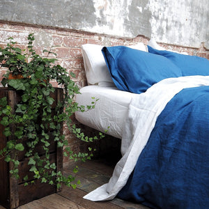 Egyptian Blue Linen Pillowcases (Pair)