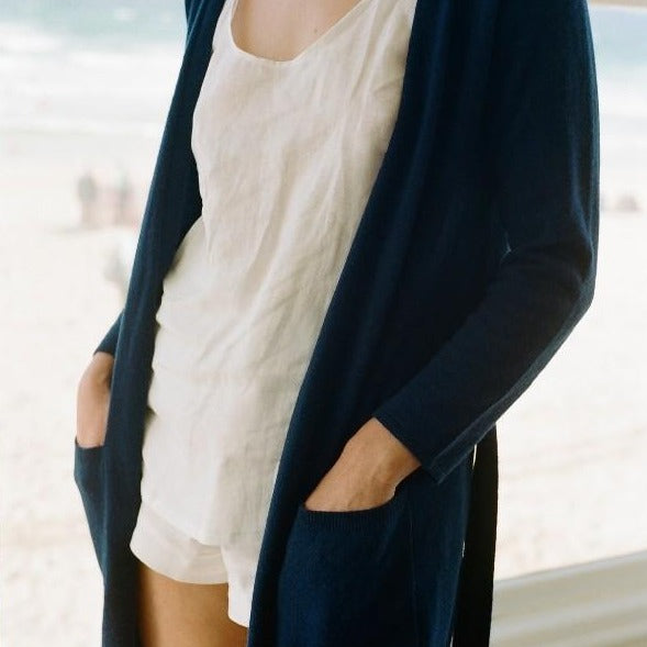 Piglet x WoolOvers Cashmere Merino Dressing Gown Neo Navy