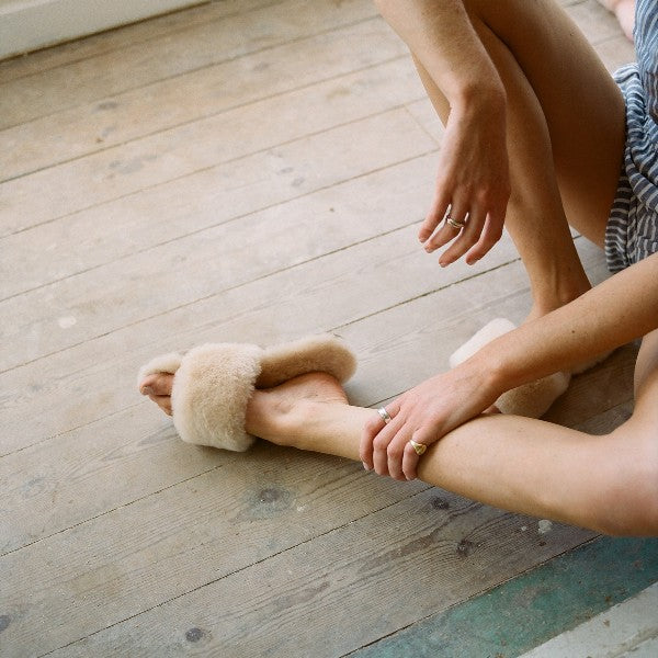 Piglet x WoolOvers Neutral Womens Open Toe Sheepskin Mule