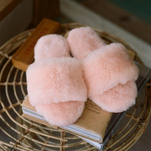 Piglet x WoolOvers Pale Pink Womens Open Toe Sheepskin Mule
