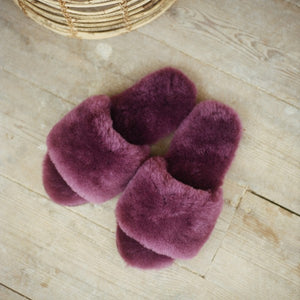 Piglet x WoolOvers Plum Womens Open Toe Sheepskin Mule