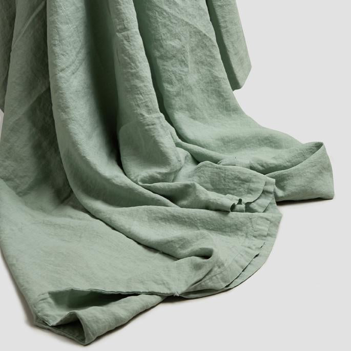 Sage Green Linen Single Duvet Cover Set - Piglet in Bed