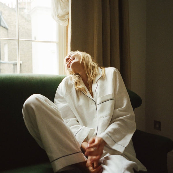 White Linen Pyjama Trousers