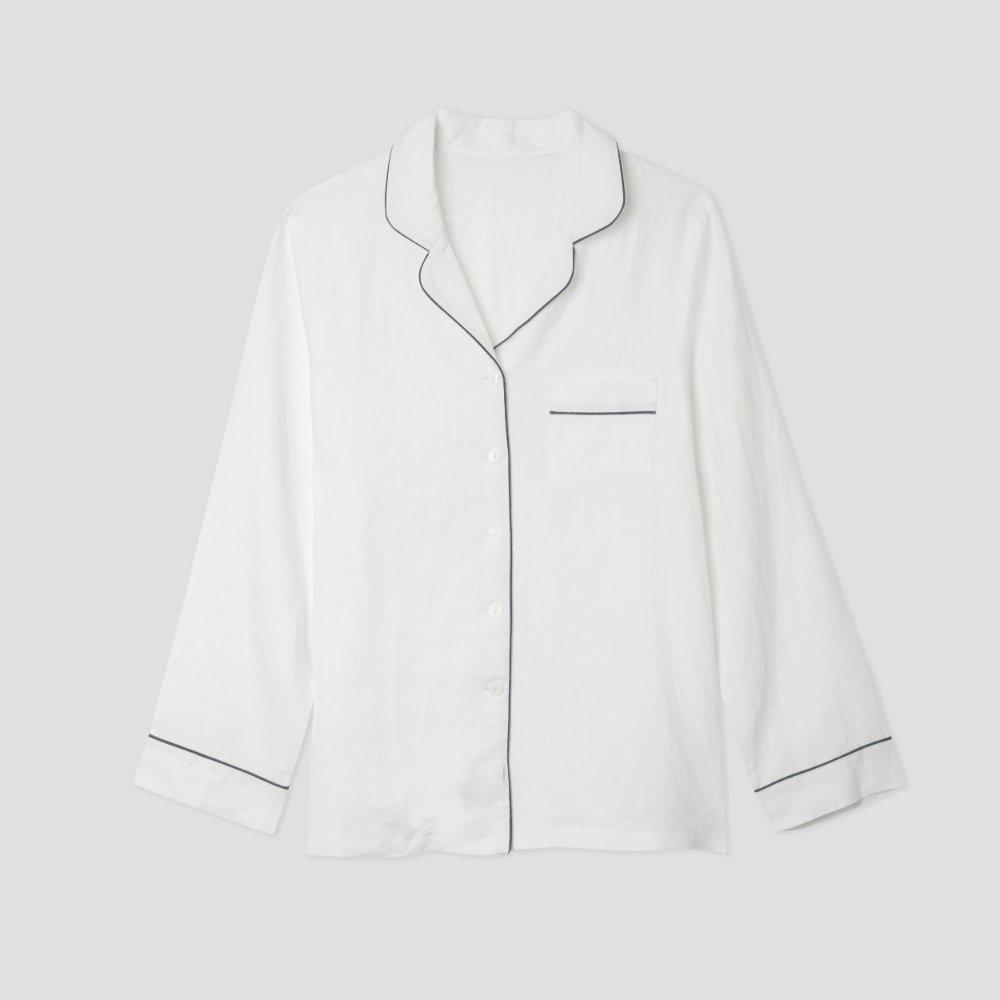 White Linen Pyjama Shirt (Top Only)