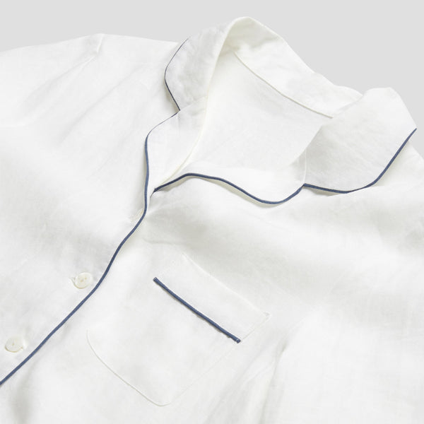 White Linen Pyjama Trouser Set