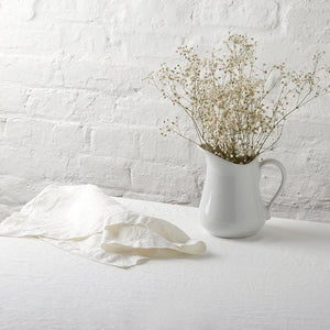 White Linen Tablecloth - Piglet in Bed