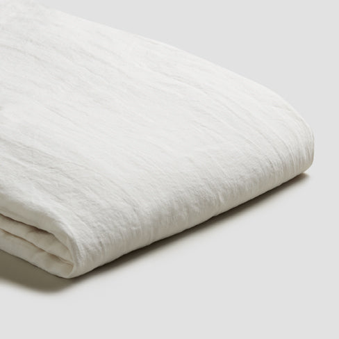 White Linen Fitted Sheet - Piglet in Bed