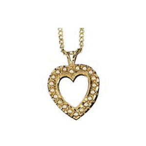 Crown Pearl Heart Pendant