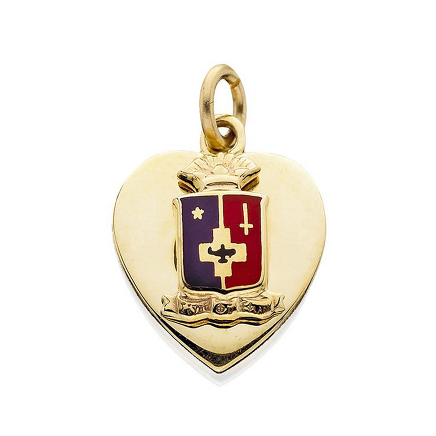 Heart Pendant with Enameled Crest