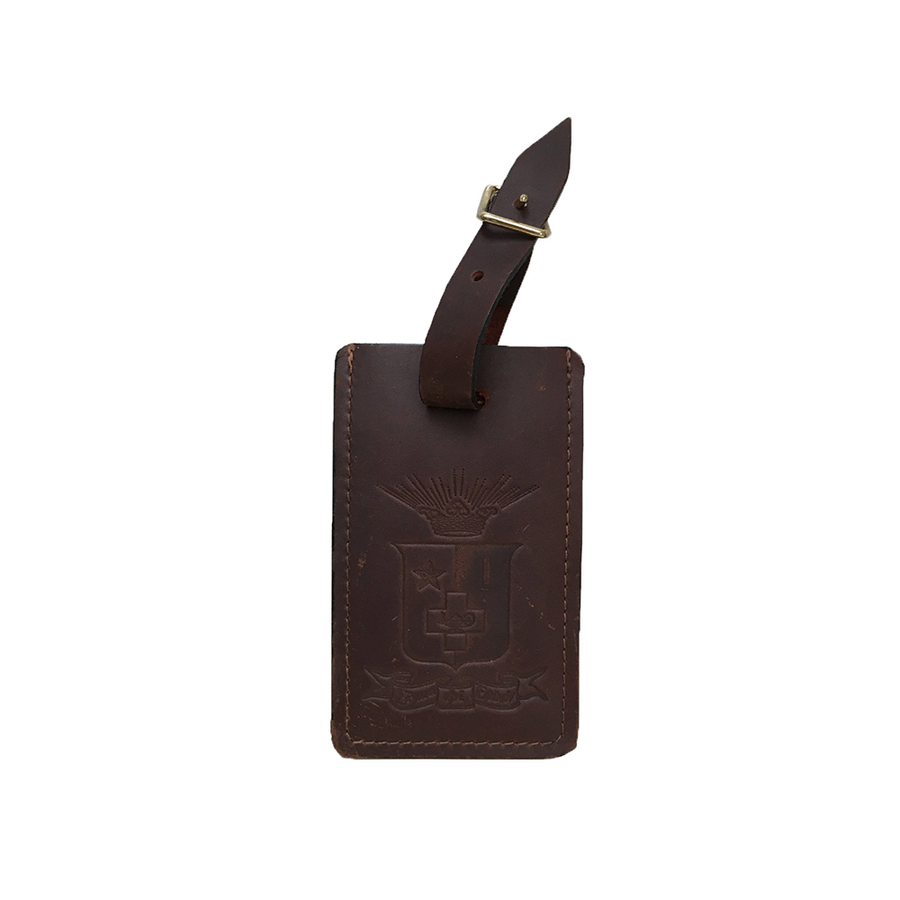 Leather SigEp Crest Luggage Tag