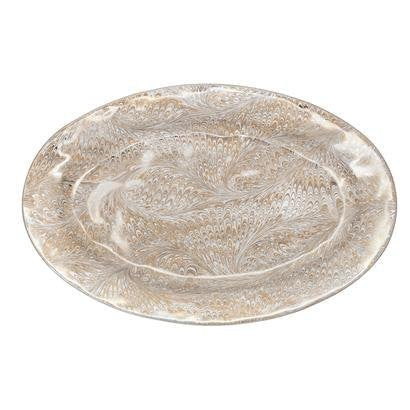 Juliska Firenze Marbelized Medici Serving Platter Gold/Platinum