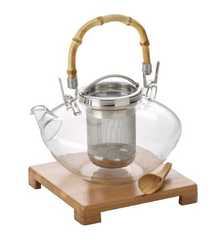 BonJour Zen 42-Oz. Glass Teapot with Stand & Scoop, Stainless Steel