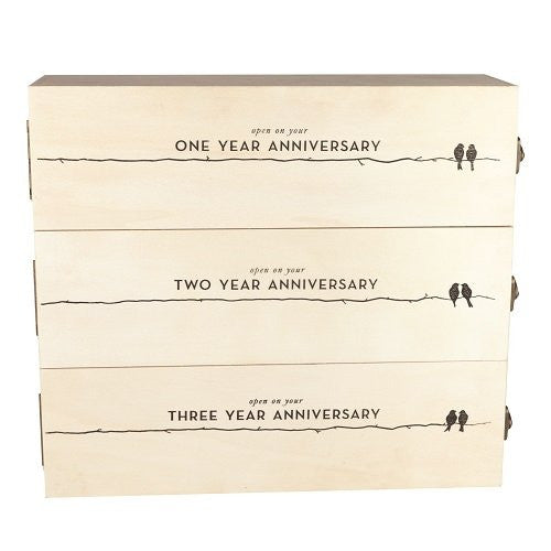 Boulevard Newlywed's Anniversary Wooden Wine Box by Twine