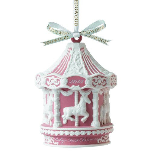 Wedgwood 2013 Baby's 1st Christmas Pink Carousel Figurine