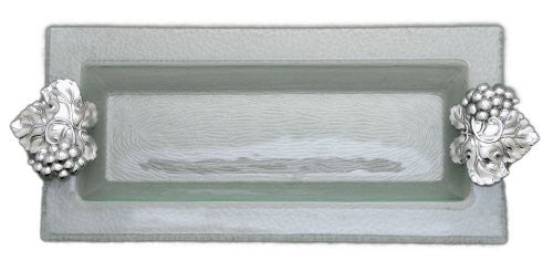 Arthur Court Grape Glass and Metal Oblong Tray, 18-Inch