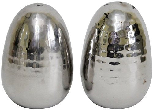 Hammered Egg Shaped Salt and Pepper Shakers