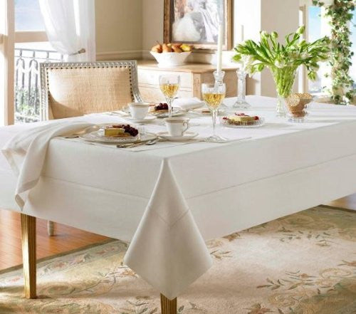 Waterford Linens Addison Linen Oblong 70 x 104in Table Cloth Pearl Ivory