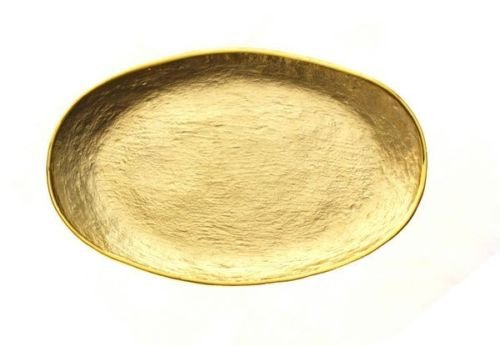 Badash Crystal Glamour Gold Glass Oval Tray