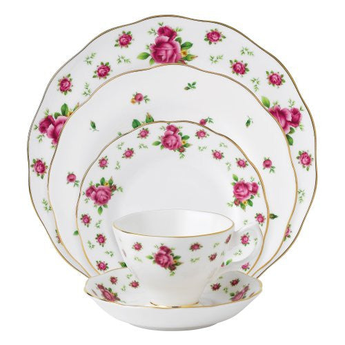 Royal Albert NEW COUNTRY ROSES WHITE 5-PIECE PLACE SETTING