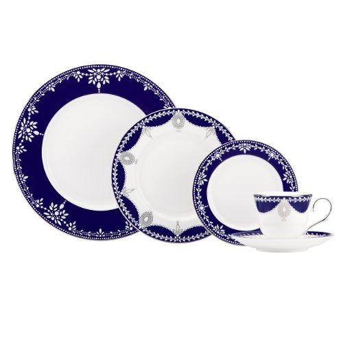 Lenox Marchesa Couture 5-Piece Place Setting, Empire Pearl Indigo