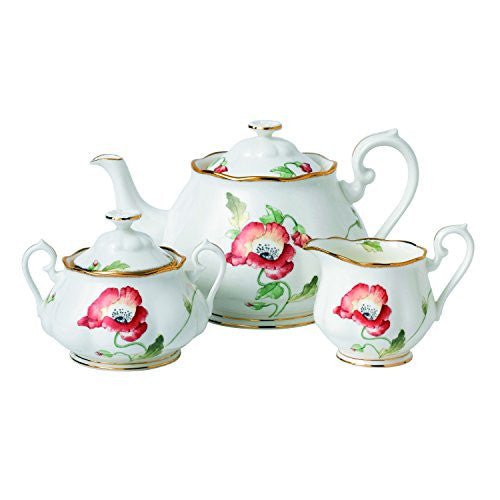 Royal Albert 100 YEARS 1970 3-PIECE TEAPOT, SUGAR & CREAMER SET POPPY