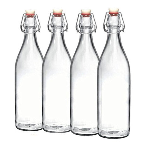 Bormioli Rocco Giara Clear Glass Bottle With Stopper | Swing Top Bottle for Beverages, Oil, Vinegar | 33 3/4 oz [Set of 4]