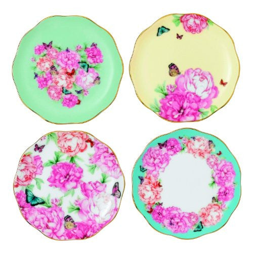 "Royal Albert MIRANDA KERR TIDBIT PLATES 3.9"" SET/4 (BLESSINGS, JOY, GRAT. & DEV.)"