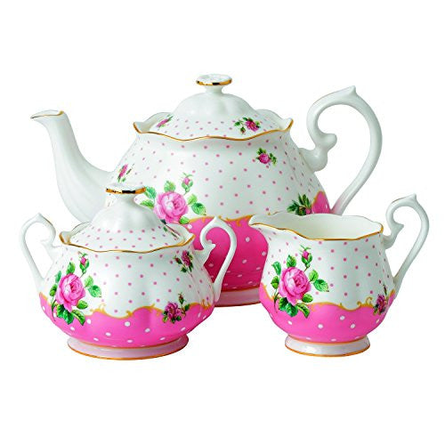 Royal Albert CHEEKY PINK 3-PIECE SET (TEAPOT, COVERED SUGAR, CREAMER)