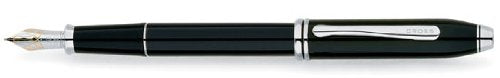 Cross Townsend Black Lacquer & Rhodium Fountain Pen with Fine Nib (AT0046-4FD)