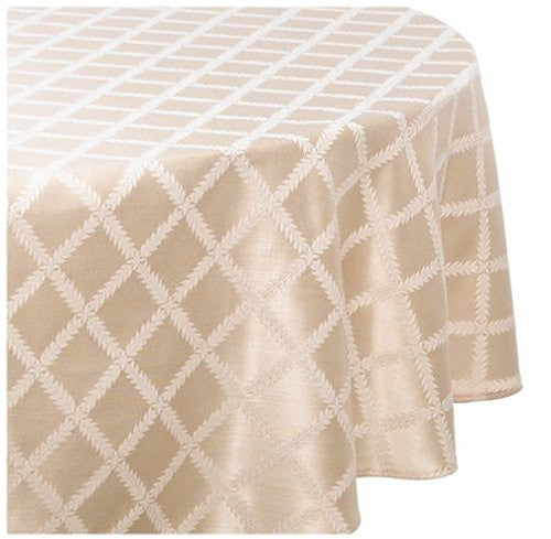 Delightful Lenox Laurel Leaf 70 By 104 Inch Oval Tablecloth, Ivory