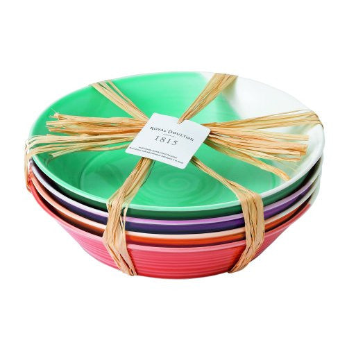 "1815 MIXED PATTERNS PASTA BOWLS 9.1"" SET/4 BRIGHT COLORS"