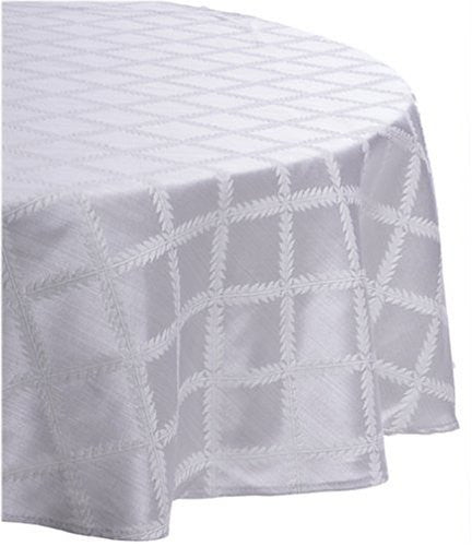 Lenox Laurel Leaf 90-Inch Round Tablecloth, Platinum