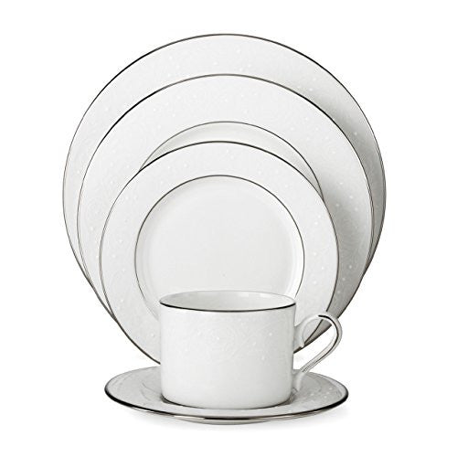 Lenox Floral Veil Bone China Platinum Banded 5-Piece Place Setting, Service f...