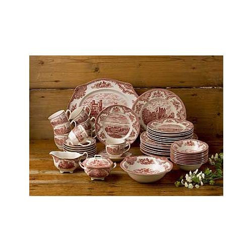 Wedgwood OLD BRITAIN CASTLES PINK 45-PIECE DINNERWARE SET