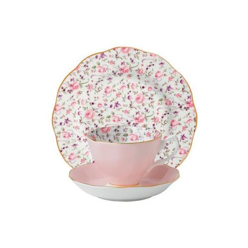 Royal Albert ROSE CONFETTI 3-PIECE SET (TEACUP, SAUCER & PLATE)
