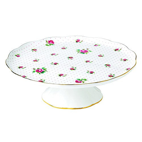 "Royal Albert NEW COUNTRY ROSES TEA PARTY CAKE STAND 12"" PINK ROSES"