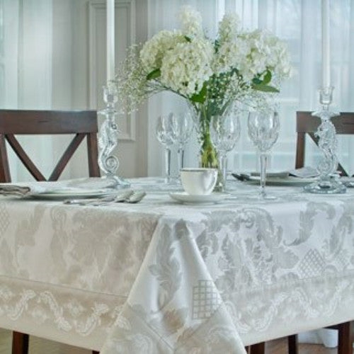 "Waterford Damascus Moonstone Table Cloth 70"" X 84"" Oblong"