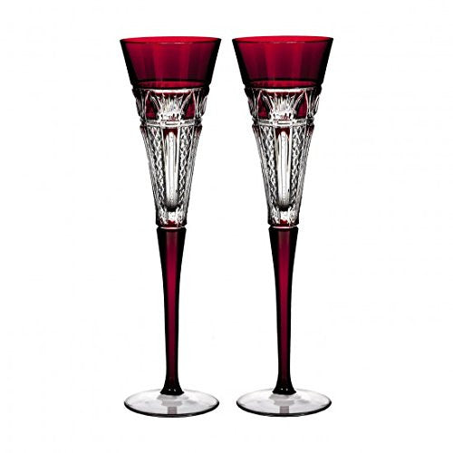 Times Square Cased Champagne Flutes Glass (Set of 2) Color: Red